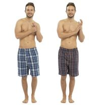 Mens 2 Pack Tom Franks Woven Check Pyjama Lounge Shorts Blue/Black Check
