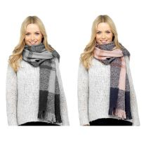 Womens Foxbury Long Winter Scarves Pink or Grey Check