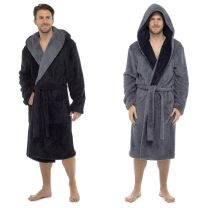 Foxbury Mens Shaggy Fleece Dressing Gown with Contrast Lapel Grey or Black