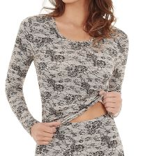 Womens Charnos Second Skin Thermalwear Long Sleeve Top 58436 Black Print