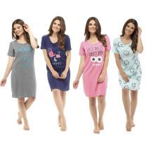 Womens Follow That Dream Fun Short Sleeve Cotton Nightshirt Turquoise, Grey, Navy or Pink