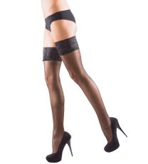 Ladies Silky Shine Luxury Lace Top Hold Ups 15 Denier - Stretch Recovery Technology