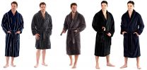 Harvey James Mens Soft Coral Fleece Dressing Gown M-2XL Plain or Striped