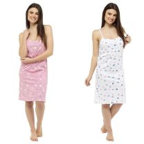Womens Follow That Dream Cotton Strappy Chemise Nightshirt LN806/7 Heart Print or Stripe