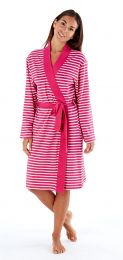 Womens Selena Secrets Soft Jersey Dressing Gown Wrap Striped
