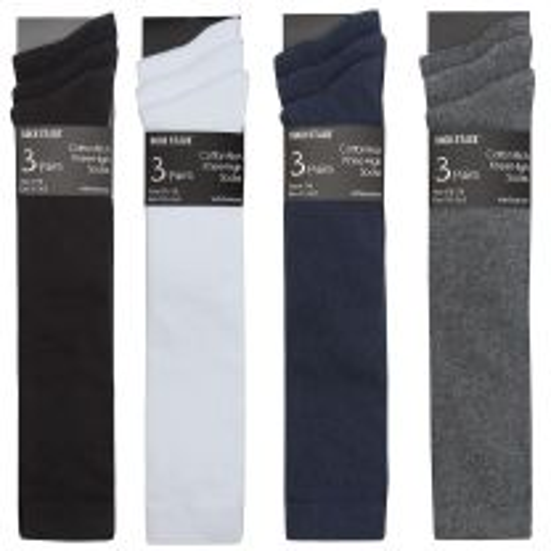 6 Pairs Knee High Cotton Rich School Socks