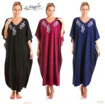 La Marquise Nightwear Polyester/Cotton Embroidered Kaftan Lounger One Size