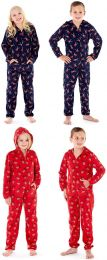 Boys Girls Childrens Rudolph Reindeer Hooded All Over Print Warm Fleece Age 7-13