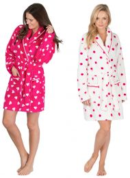 Womens Forever Dreaming Soft Coral Fleece Dressing Gown Plain or Pattern Sizes Small-4XL