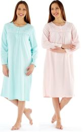 Ladies Embroidered Soft Fleece Long Sleeve Nightdress MED23 Pink or Aqua