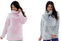 Womens Luxury Foxbury Cuddle Fleece Snuggle Top With Cowl Neck  Grey or Pink