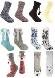 Ladies Chunky Knit or Fleece Slipper Gripper Socks & Soft Sherpa Fleece Lining