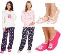 Womens Forever Dreaming Micro Fleece Pyjamas With FREE Matching Fluffy Slippers