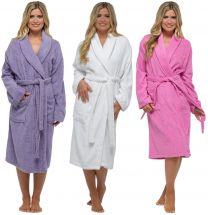 Ladies Luxury 100% Cotton Towlling Bath Robe, Dressing Gown LN566
