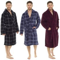 Tom Franks Mens Fleece Check Dressing Gown with or without Hood Blue Red or Black Check