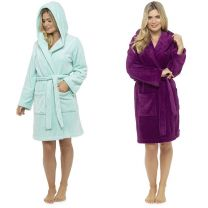 Womens Follow That Dream Hooded Fleece Dressing Gowns with Hood Mint or Plum