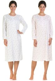 Ladies Lady Olga Floral Jersey Cuddleknit Brushed Inside Nightdresses Nightie