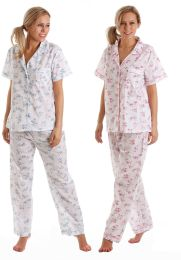 Ladies Lady Olga Floral Poly Cotton Short Sleeve Pyjamas Summer Pjs 55423