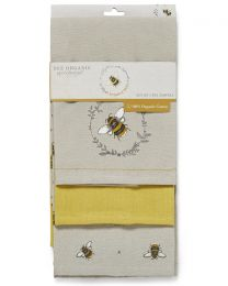 Cooksmart 3 Pack Bumble Bees Tea Towels