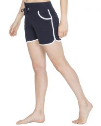 Cottonique Contrast Piping Lounge Shorts - Navy