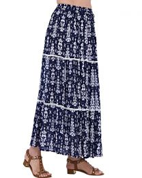 Pistachio Tribal Print Maxi Skirt - Navy