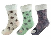 Womens Ladies Sherpa Lined Animal Glitter Slipper Socks with Grippers