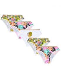 5 Pairs Girls Tropical Leopard Cotton Knickers