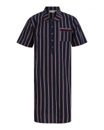 Walker Reid Woven Placket Nightshirt - Navy