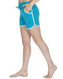 Cottonique Contrast Piping Lounge Shorts - Turquoise