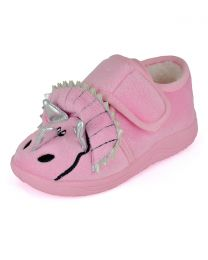 SlumberzzZ Kids Triceratops Slippers - Pink