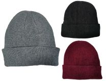 Ladies Undercover Chenille Knitted Thermal Turn Up Beanie Hat Black, Grey or Burgundy
