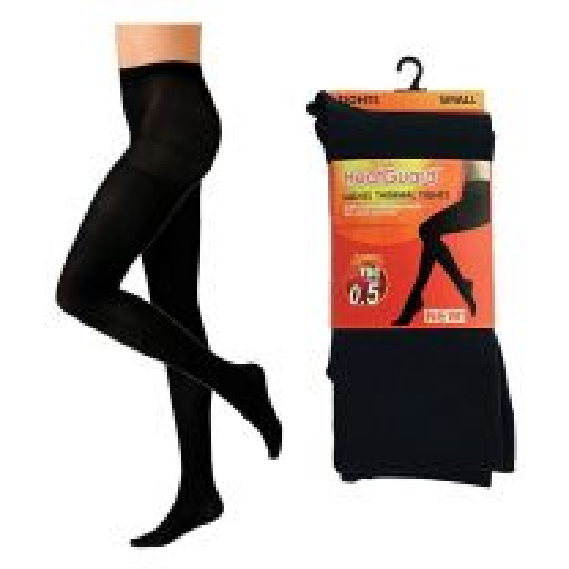 Ladies Heatguard Thermal Brushed Inside 140 Denier Tights Black Shoe