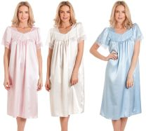 Womens Satin/Lace Short Sleeve Nightdress Nightie in Pastel Shades