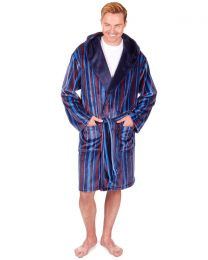 Sleepy Joes Coral Fleece Dressing Gown - Blue Stripe