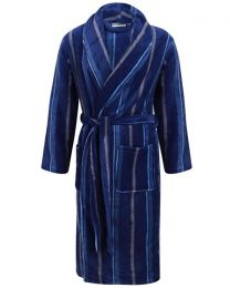 Walker Reid Stripe Coral Fleece Robe - Navy