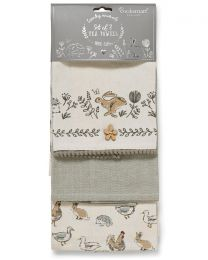 Cooksmart 3 Pack Country Animals Tea Towels