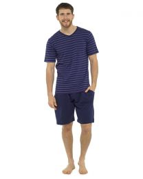Tom Franks Striped Short Pyjamas - Navy/Blue