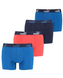 Puma 4 Pack Solid Boxer Shorts - Red/Blue