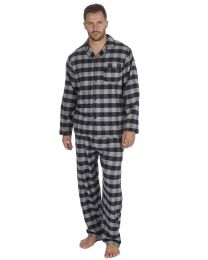 Pierre Roche Flannel Check Pyjamas - Grey/Black