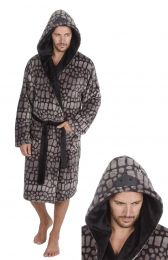 Mens Undercover Soft Touch Coral Fleece Grey Dinosaur Dressing Gown Robe M-2XL