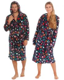 Unisex Christmas Hooded Dressing Gown - Navy