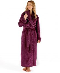 Slenderella Fur Collar Dressing Gown - Damson