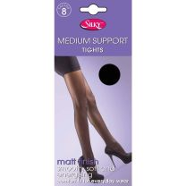 Silky Medium Support Tights Factor 8 With Reinforced Body and Toe 1 or 3 Pack