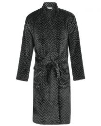 Walker Reid Herringbone Coral Fleece Robe - Grey
