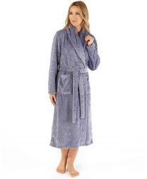 Slenderella Chevron Wrap Dressing Gown - Grey