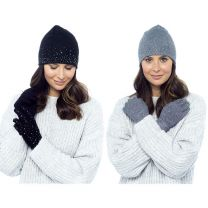 Ladies Foxbury Hat & Gloves with Diamante Sparkles GL575 Black or Grey