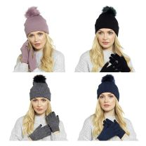 Ladies Bobble Hat & Touch Screen Gloves Set by Foxbury GL550