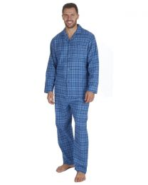 Pierre Roche Flannel Check Pyjamas - Blue