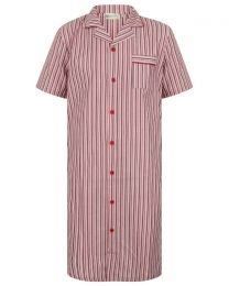 Walker Reid Cotton Stripe Nightshirt - Red