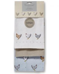 Cooksmart 3 Pack Farmers Kitchen Tea Towels